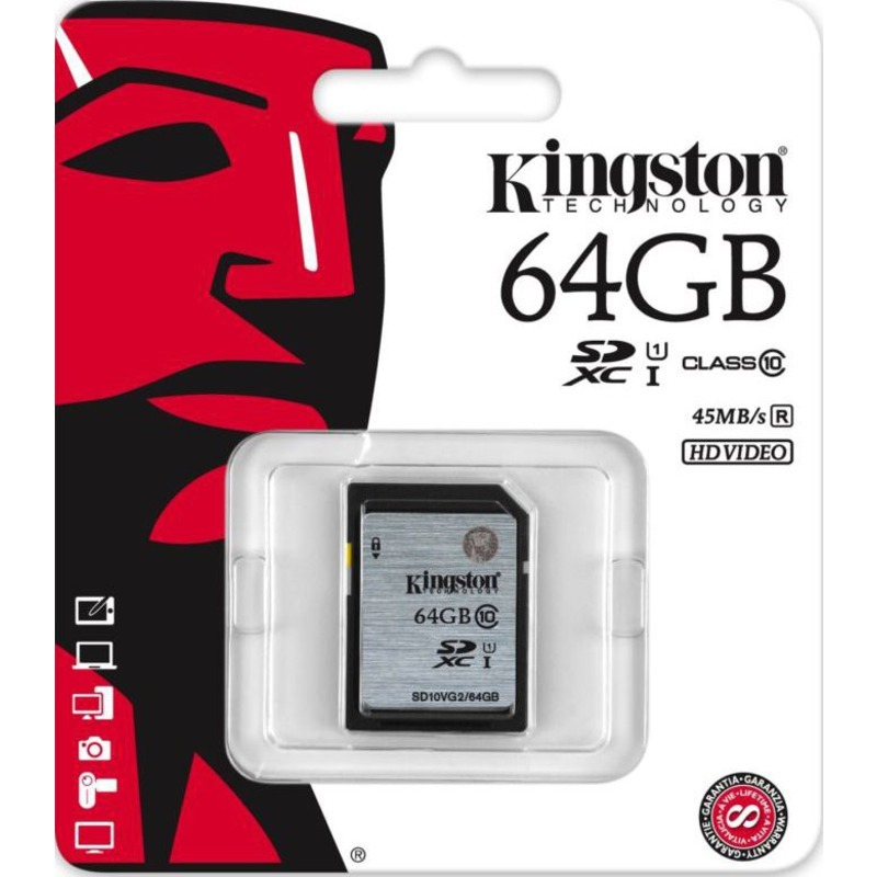 Карта памяти SDXC 64GB Kingston Class 10 UHS-I 45MB/s